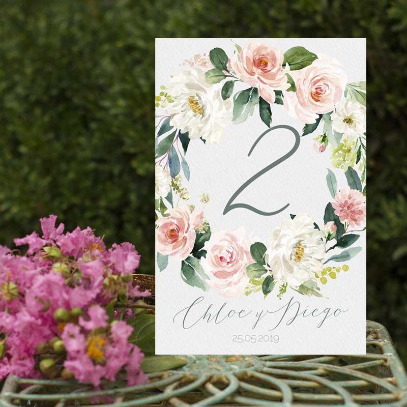 Números de mesa boda rústica flores Chloe