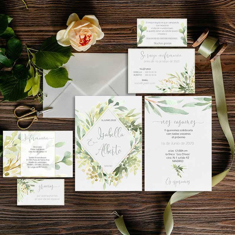 Colección invitación boda primavera Isabella. Boda rústica