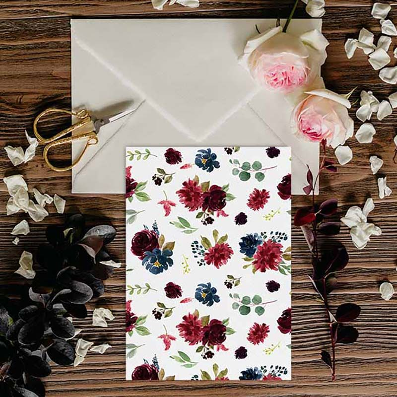 Invitaciones de boda flores otoño Dalia