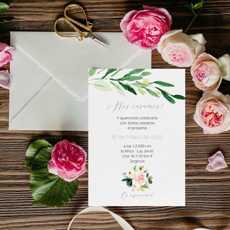 Invitaciones de boda acuarela rústicas.