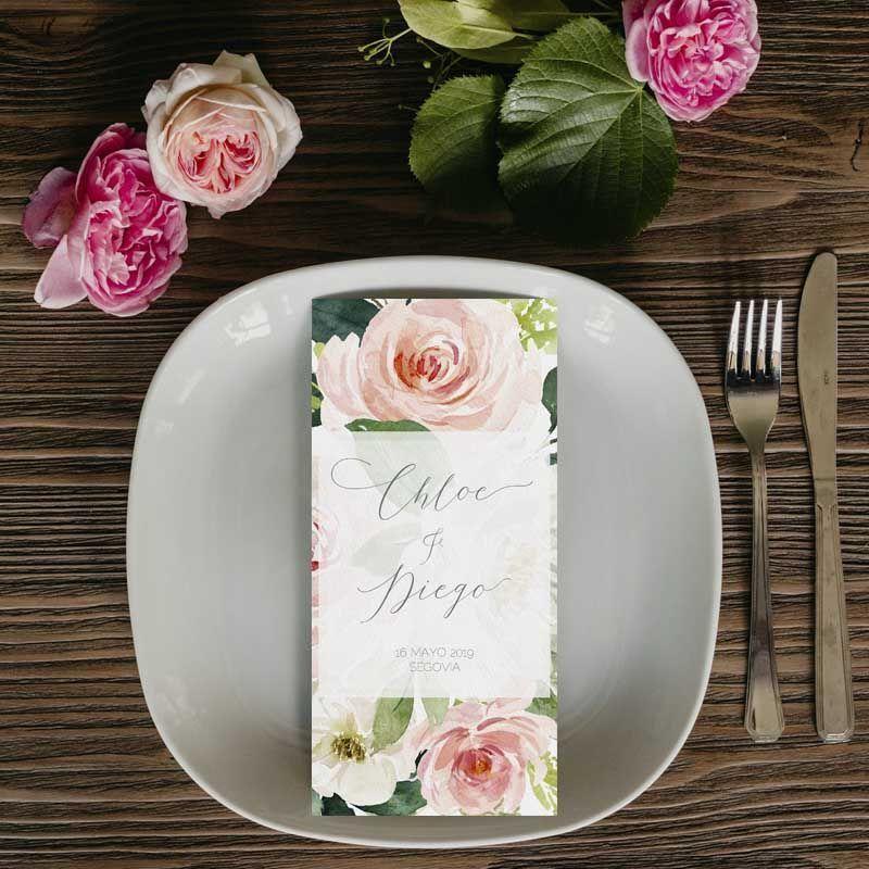 Menú boda rústica flores rosas acuarela