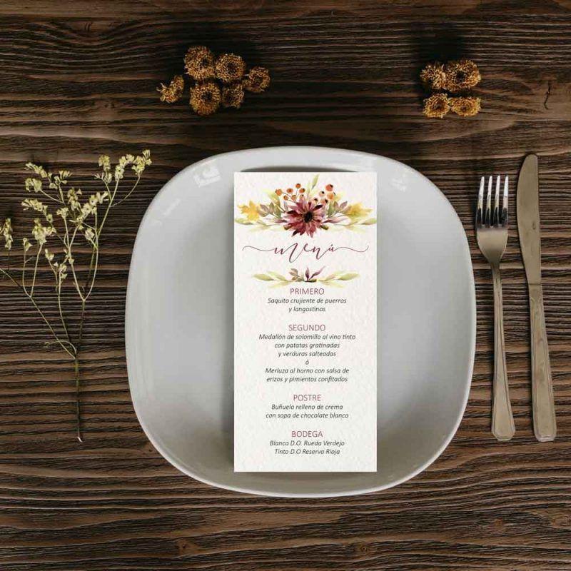 Menu boda otoño. Invitaciones de boda rusticas.
