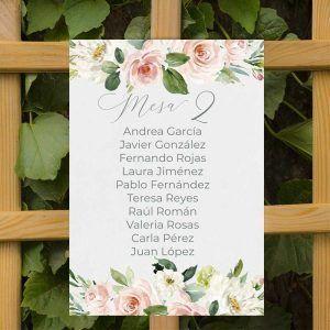 Seating plan boda rústica flores rosas acuarela Chloe