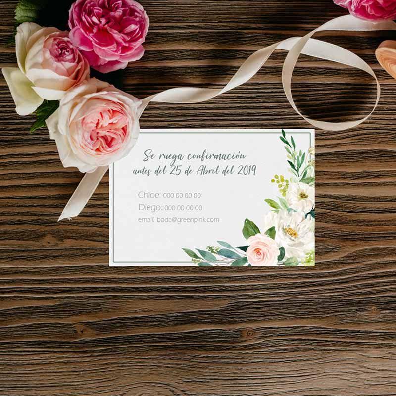 Tarjeta confirmación boda rústica,
