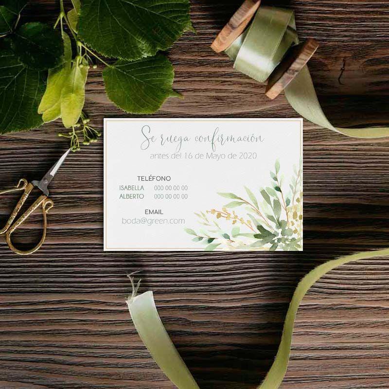 Confirmación boda. Invitaciones de boda rústicas
