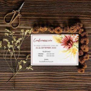 Tarjeta confirmación invitación boda otoño