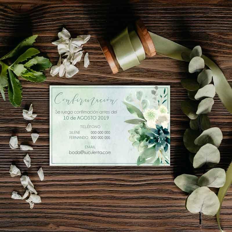 Tarjeta confirmación. Invitaciones de boda suculentas