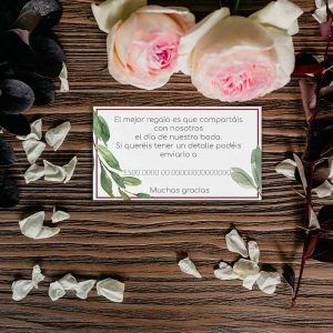 Tarjeta lista de bodas flores burdeos bodas rusticas.