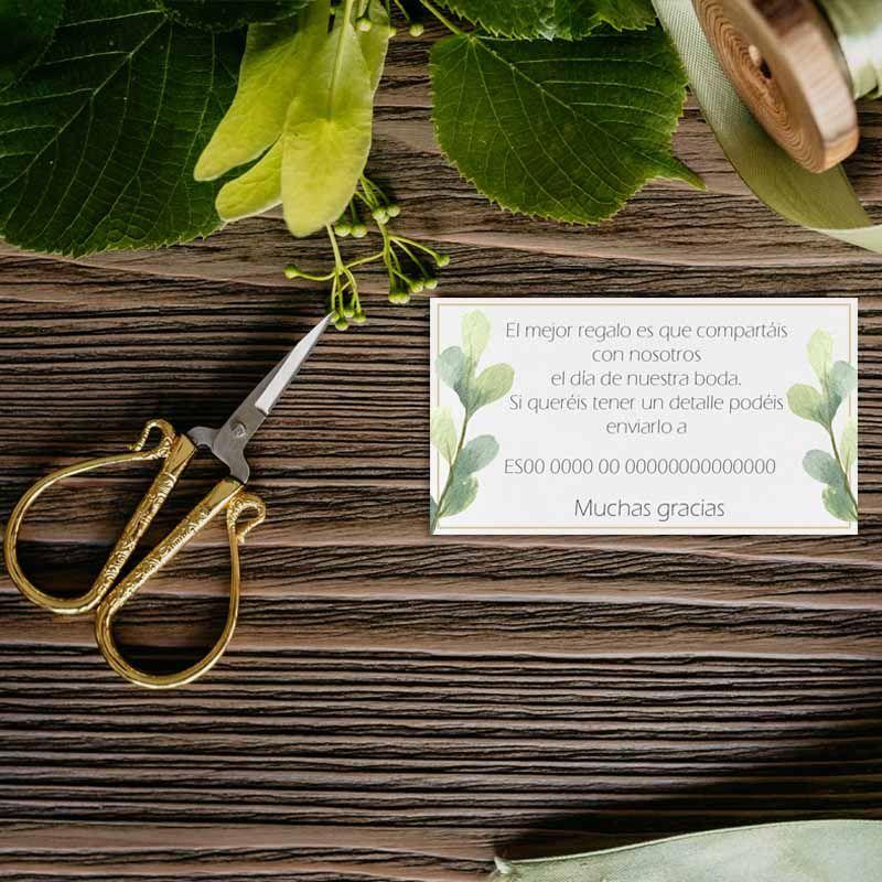 Tarjeta lista regalo boda flores. Bodas rústicas