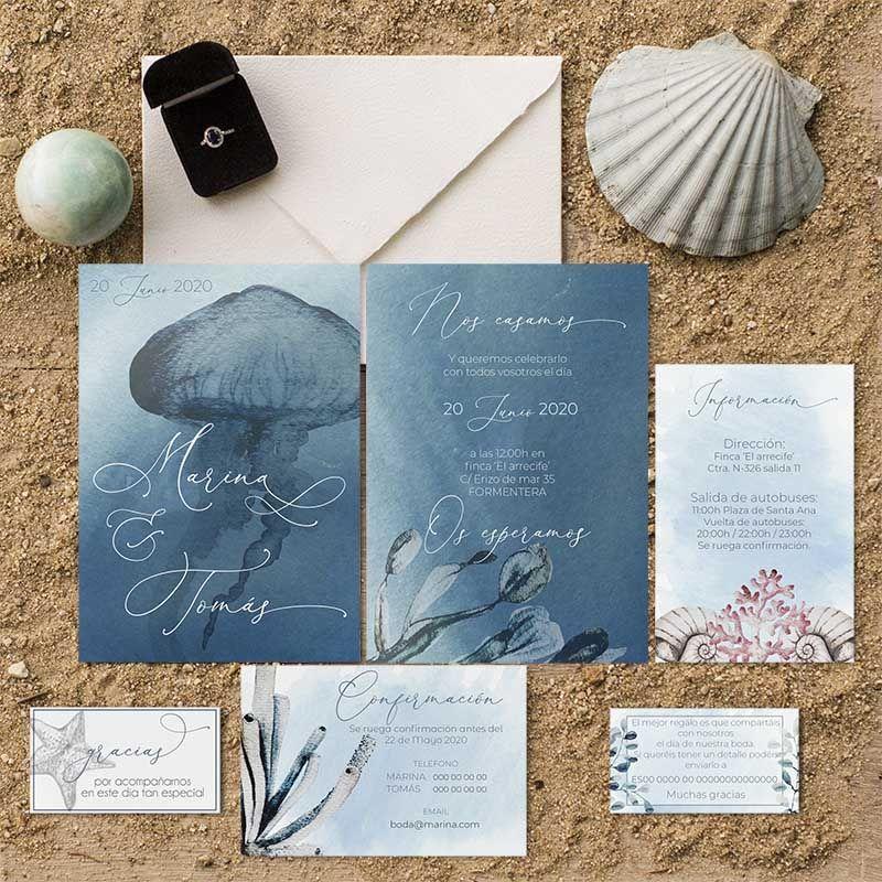 Papelería de boda marítima. Invitaciones para una boda en la playa.