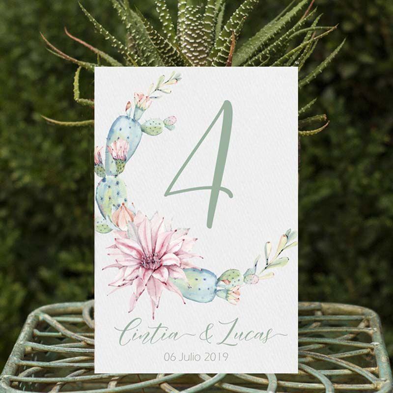 Números de mesa boda cactus