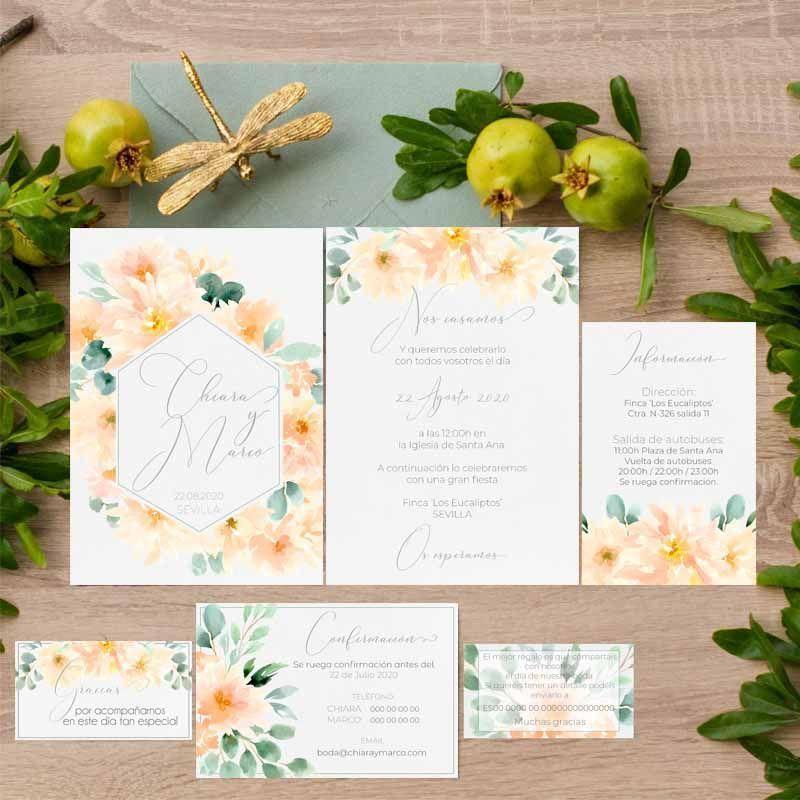 Colección invitaciones de boda rústica verano