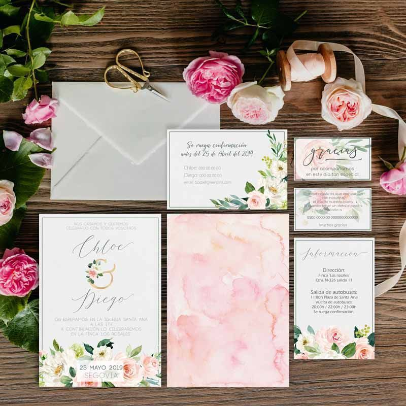 Colección invitaciones de boda pintadas a mano en acuarela flores rosas