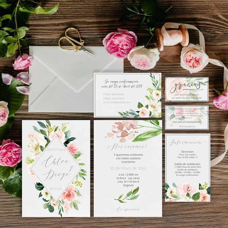 Colección invitaciones de boda flores acuarela