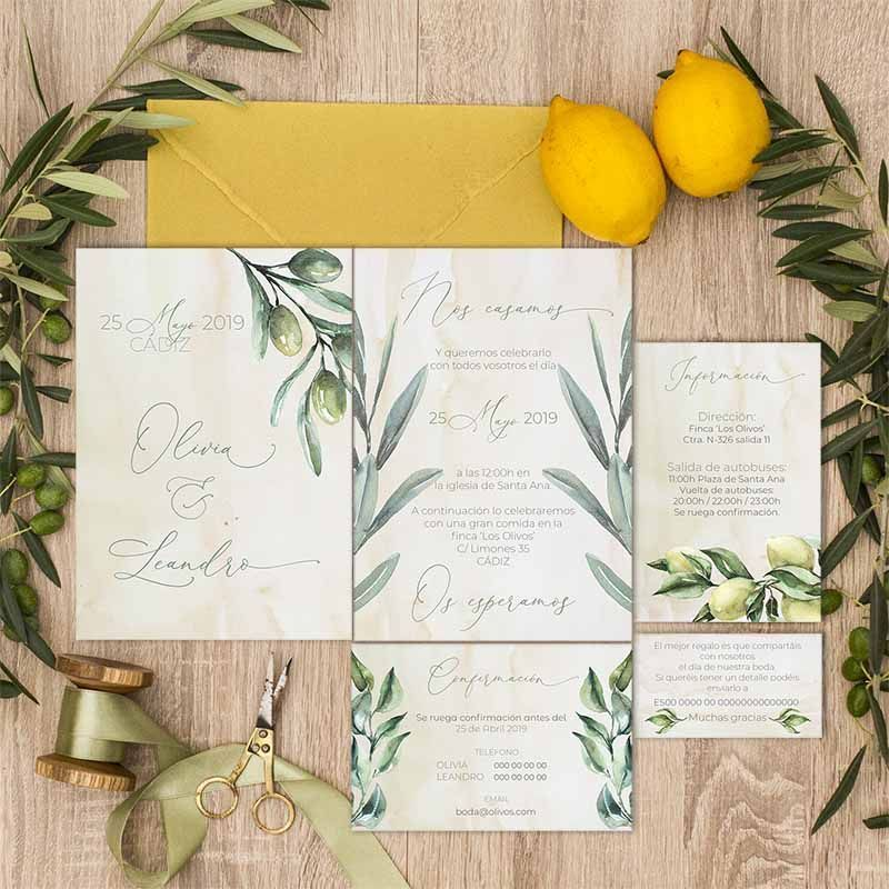 Colección papelería de bodas en el campo