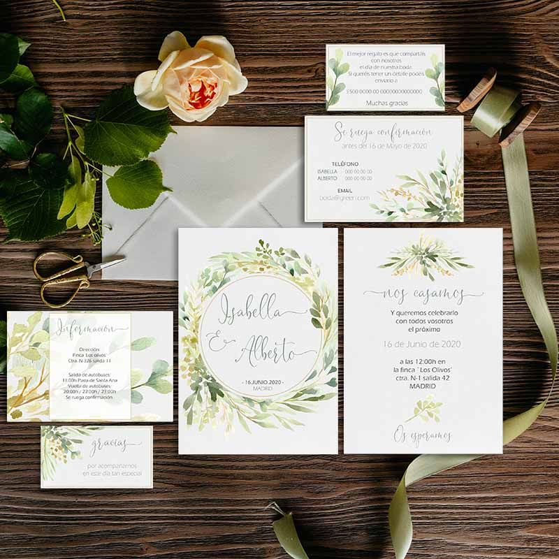 Colección invitación boda acuarela boda rústica primavera