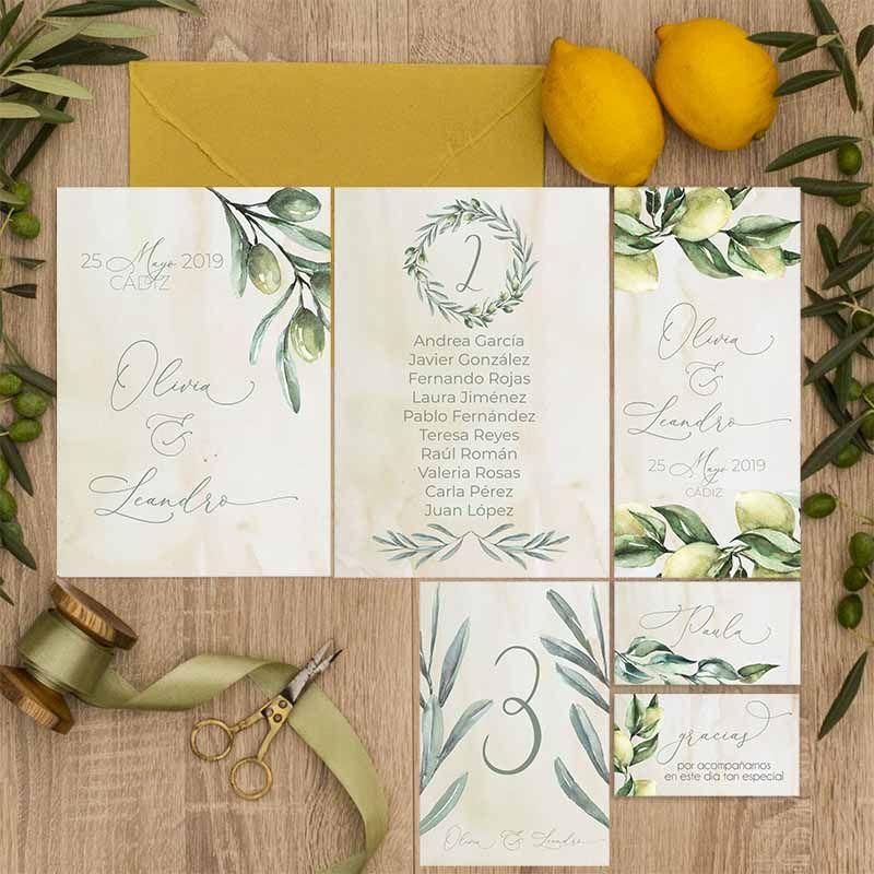Colección papelería de boda olivos