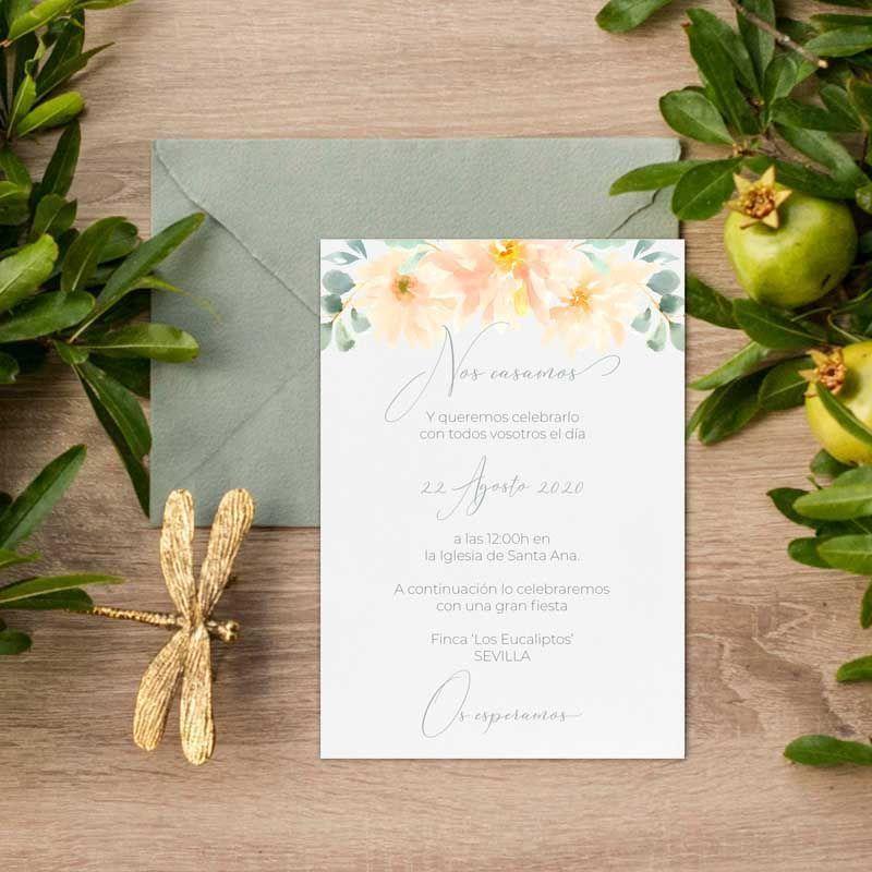 Invitaciones de boda flores acuarela. Bodas rústicas en verano