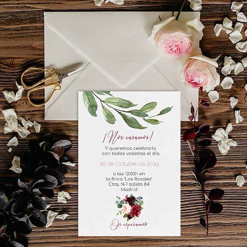 Invitación boda otoño Dalia guirnalda flores redonda. Invitación boda aire libre