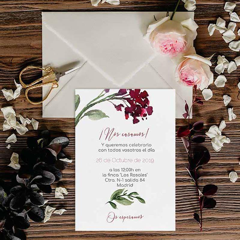 Invitación boda rústica invierno