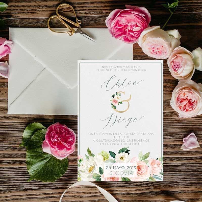 Invitaciones de boda pintadas en acuarela con flores rosas