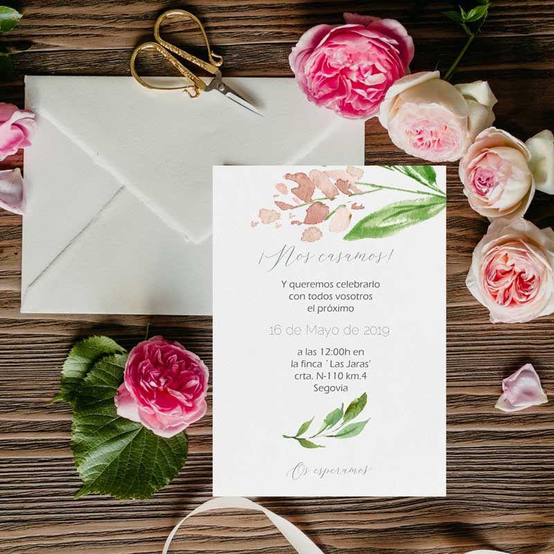 Invitaciones de boda acuarela flores rosas