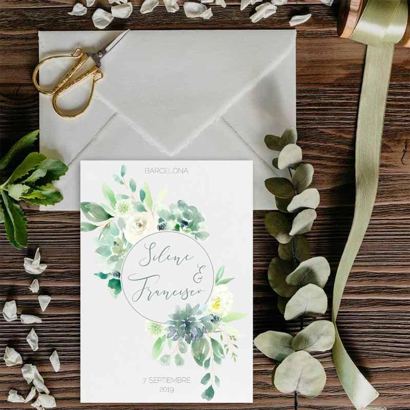 Invitaciones de boda suculentas