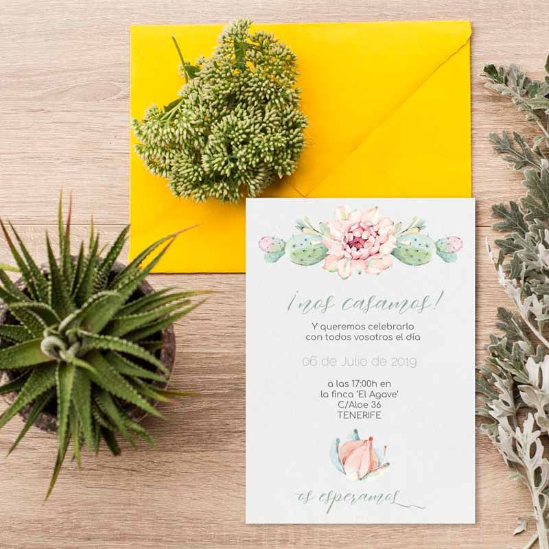 Invitación boda cactus