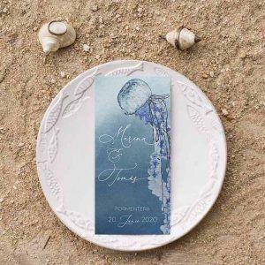 Menú boda medusa acuarela