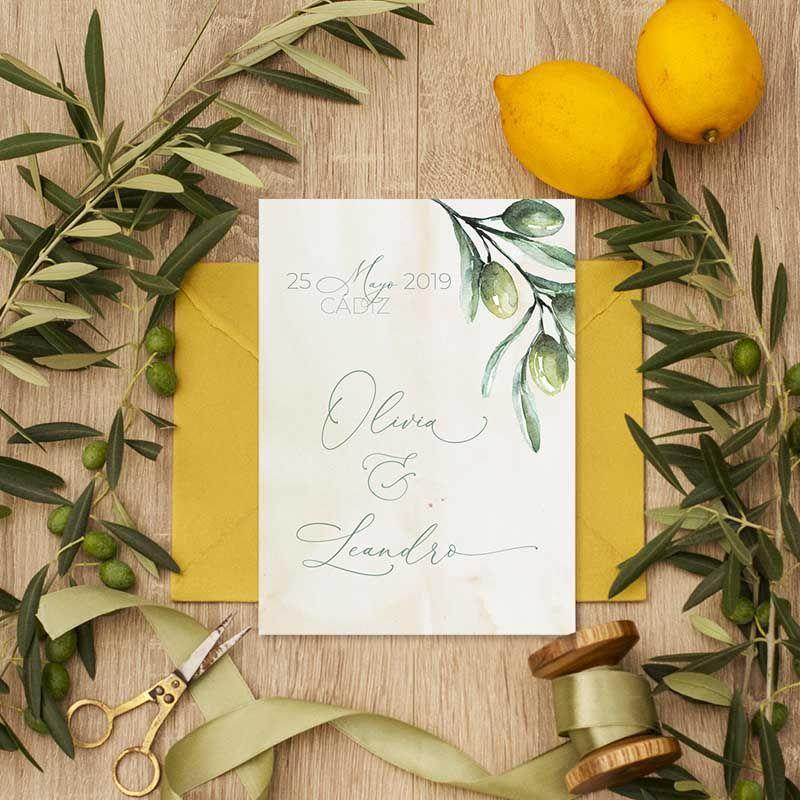 Invitación de boda olivos acuarela. Bodas rústicas