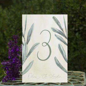 Números de mesa boda olivos