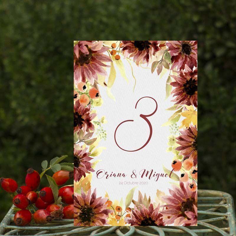 Números de mesa boda otoño