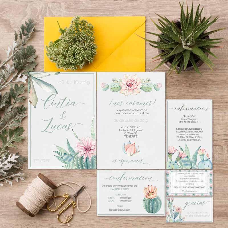 Papelería de boda cactus
