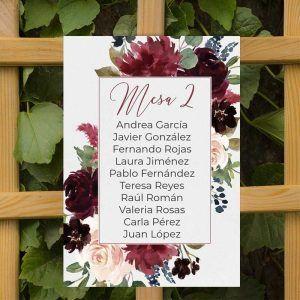 Seating plan boda otoño y boda invierno Dalia