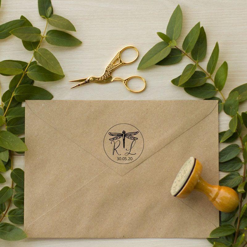 Sello de caucho libélula bodas rústicas aire libre
