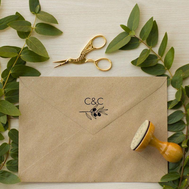 Sello de caucho olivo bodas rústicas