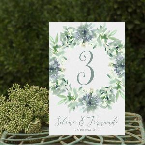 Números de mesa boda suculentas