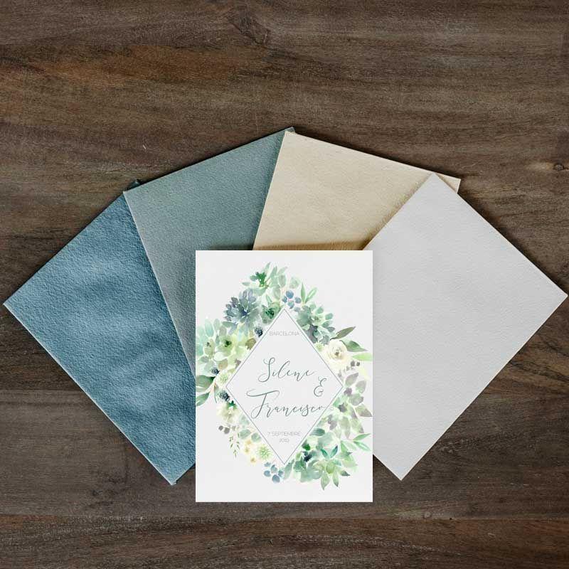 Invitación boda sucuelntas y sobres