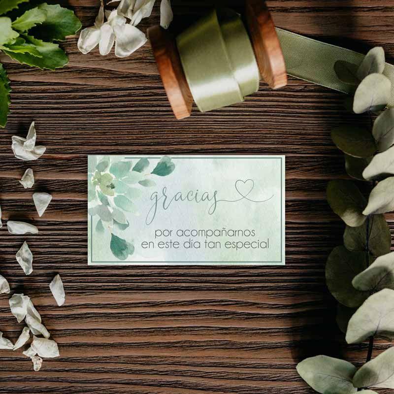 Tarjeta agradecimiento boda. Invitaciones de boda suculentas