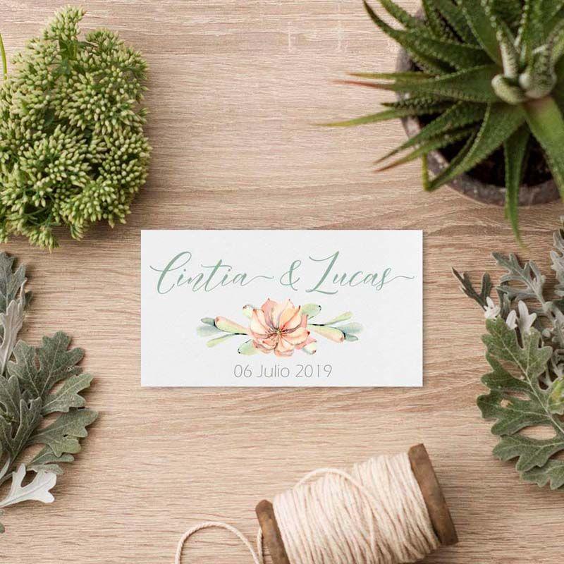 Tarjeta agradecimiento boda invitación cactus