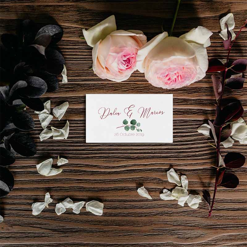 Tarjeta agradecimiento boda rústica flores