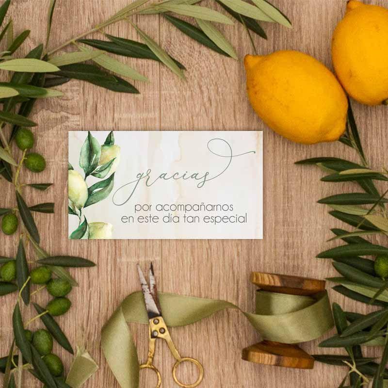 Tarjeta agradecimientos boda olivos. Bodas rústicas