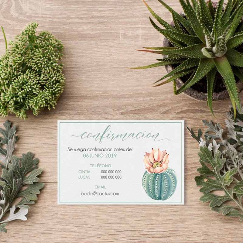 Tarjeta confirmación invitación boda cactus