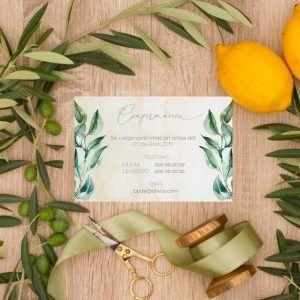Tarjeta confirmación invitaciones de boda olivos. Bodas rústicas.
