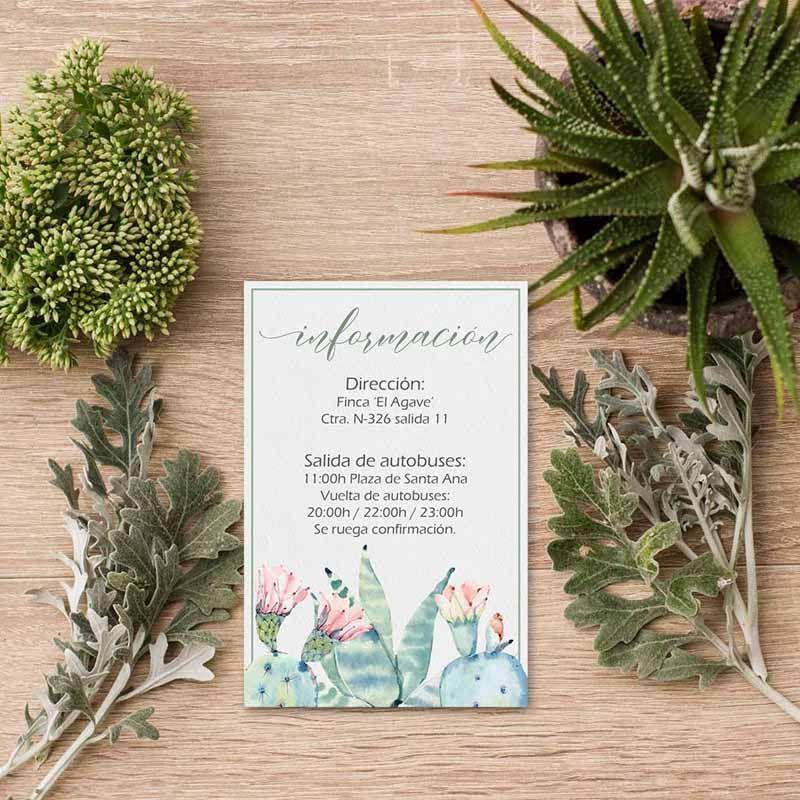 Tarjeta información invitación boda cactus