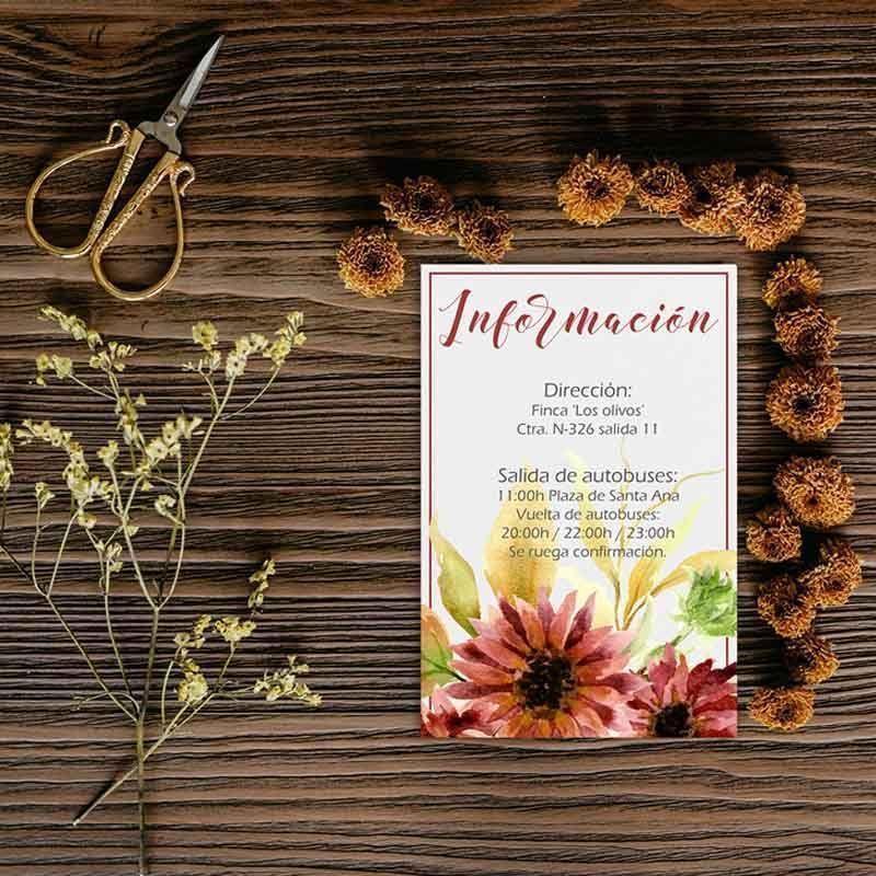 Tarjeta información boda otoño. Bodas rústicas