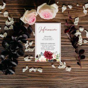 Tarjeta con mapa de boda otoño flores. Bodas rústicas