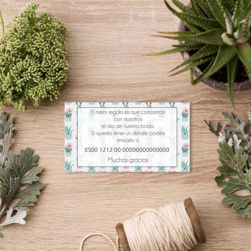 Tarjeta lista de boda invitación boda cactus