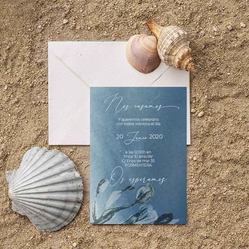 Invitaciones de boda inspiradas en el mar. Bodas en la playa
