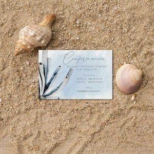 Tarjeta confirmación invitación boda playa
